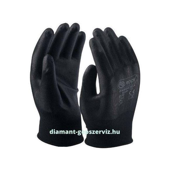 Fekete polyester kesztyű, fekete precíziós PU tenyéren mártott 7-as