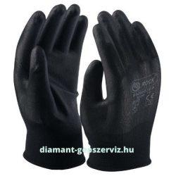 Fekete polyester kesztyű, fekete precíziós PU tenyéren mártott 8-as